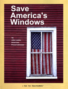 Front cover of book, an American flag inside shows through the panes of glass.
